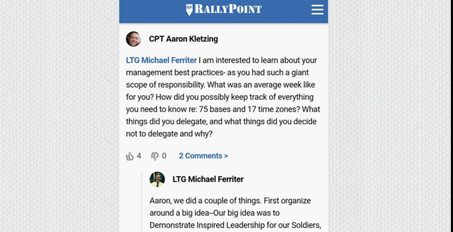 Screen grab of RallyPoint Q&A