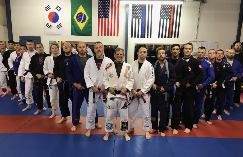 line up of Jiu Jitsu instructors and practitioners